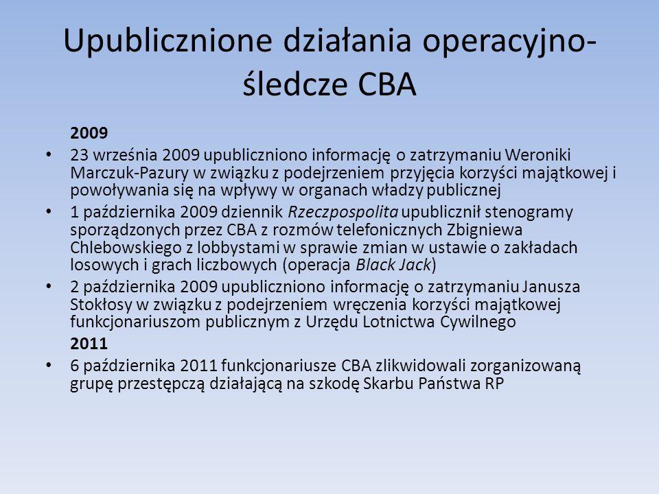 Upublicznione działania operacyjno- śledcze CBA 2009 23 września 2009 upubliczniono informację o zatrzymaniu Weroniki Marczuk-Pazury w związku z podejrzeniem przyjęcia korzyści majątkowej i powoływania się na wpływy w organach władzy publicznej 1 października 2009 dziennik Rzeczpospolita upublicznił stenogramy sporządzonych przez CBA z rozmów telefonicznych Zbigniewa Chlebowskiego z lobbystami w sprawie zmian w ustawie o zakładach losowych i grach liczbowych (operacja Black Jack) 2 października 2009 upubliczniono informację o zatrzymaniu Janusza Stokłosy w związku z podejrzeniem wręczenia korzyści majątkowej funkcjonariuszom publicznym z Urzędu Lotnictwa Cywilnego 2011 6 października 2011 funkcjonariusze CBA zlikwidowali zorganizowaną grupę przestępczą działającą na szkodę Skarbu Państwa RP