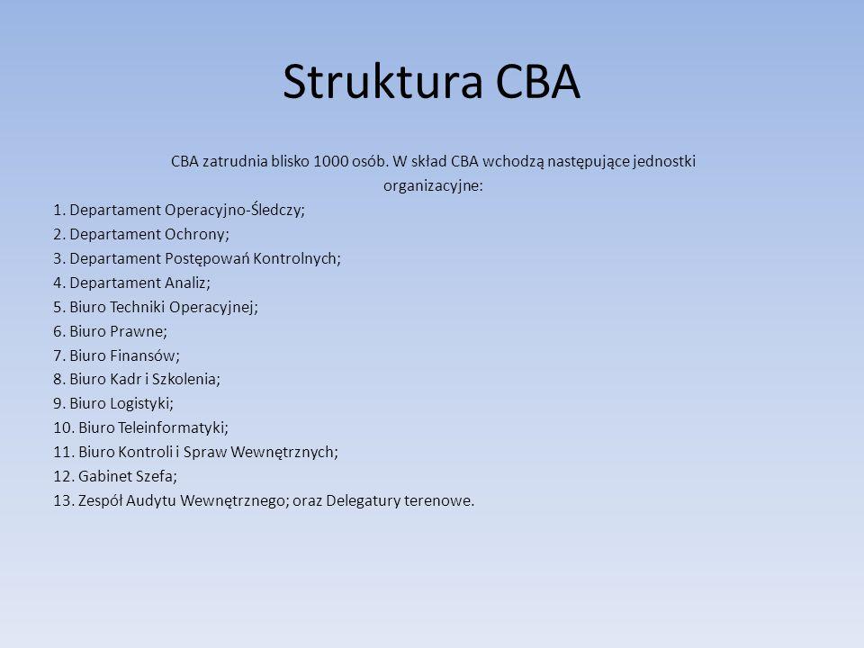 Struktura CBA CBA zatrudnia blisko 1000 osób. W skład CBA wchodzą następujące jednostki organizacyjne: 1. Departament Operacyjno-Śledczy; 2. Departame