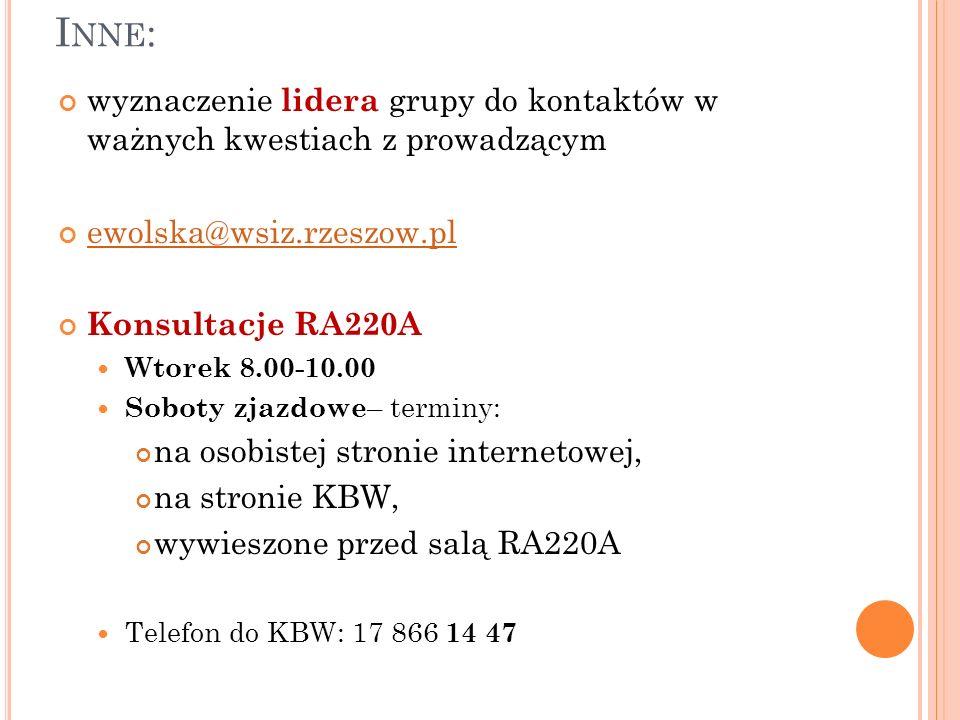 I NNE : wyznaczenie lidera grupy do kontaktów w ważnych kwestiach z prowadzącym ewolska@wsiz.rzeszow.pl Konsultacje RA220A Wtorek 8.00-10.00 Soboty zj