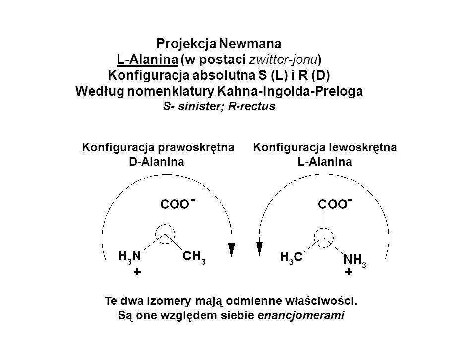 Projekcja Newmana L-Alanina (w postaci zwitter-jonu) Konfiguracja absolutna S (L) i R (D) Według nomenklatury Kahna-Ingolda-Preloga S- sinister; R-rec