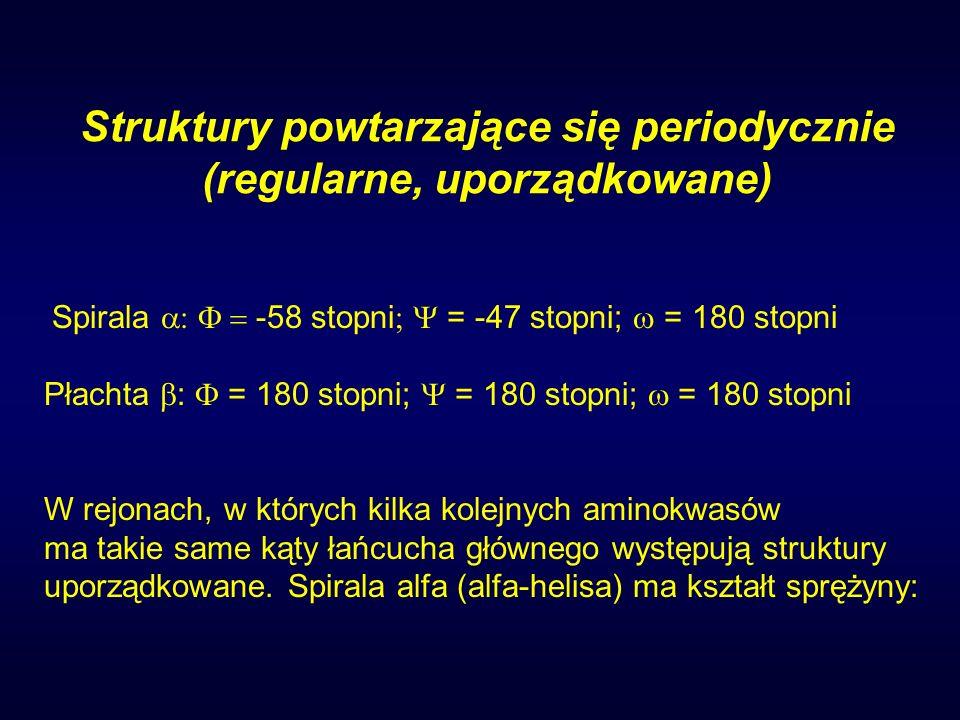 Struktury powtarzające się periodycznie (regularne, uporządkowane) Spirala -58 stopni ; = -47 stopni; = 180 stopni Płachta : = 180 stopni; = 180 stopn
