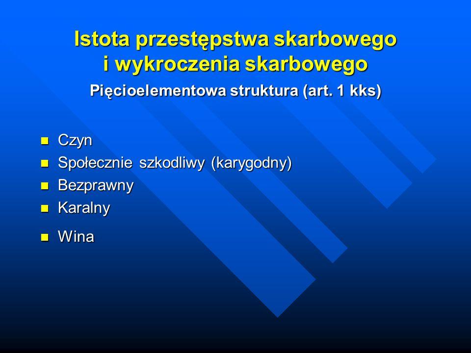 Istota przestępstwa skarbowego i wykroczenia skarbowego Pięcioelementowa struktura (art.