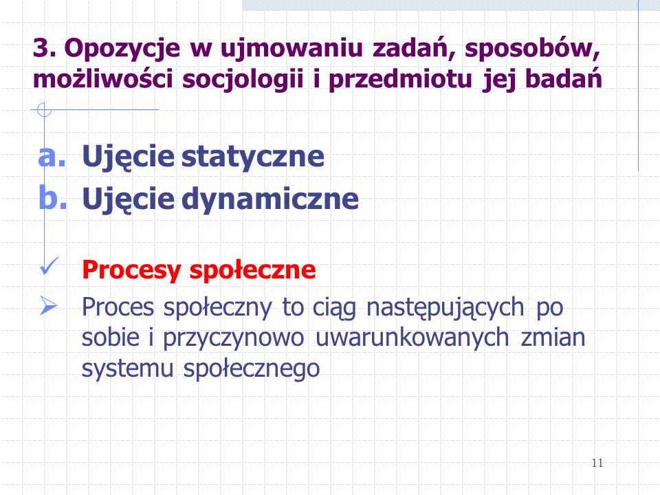 3. Opozycje w ujmowaniu zadań, sposobów, możliwości socjologii i przedmiotu jej badań a. Ujęcie statyczne b. Ujęcie dynamiczne Procesy społeczne Proce