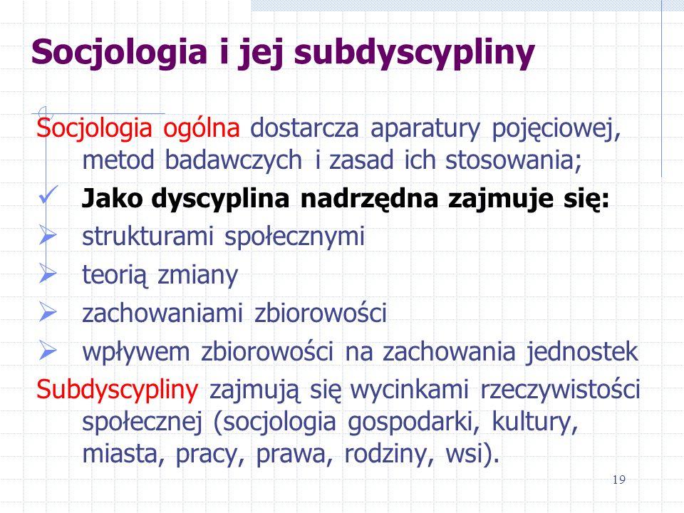 Socjologia i jej subdyscypliny Socjologia ogólna dostarcza aparatury pojęciowej, metod badawczych i zasad ich stosowania; Jako dyscyplina nadrzędna za