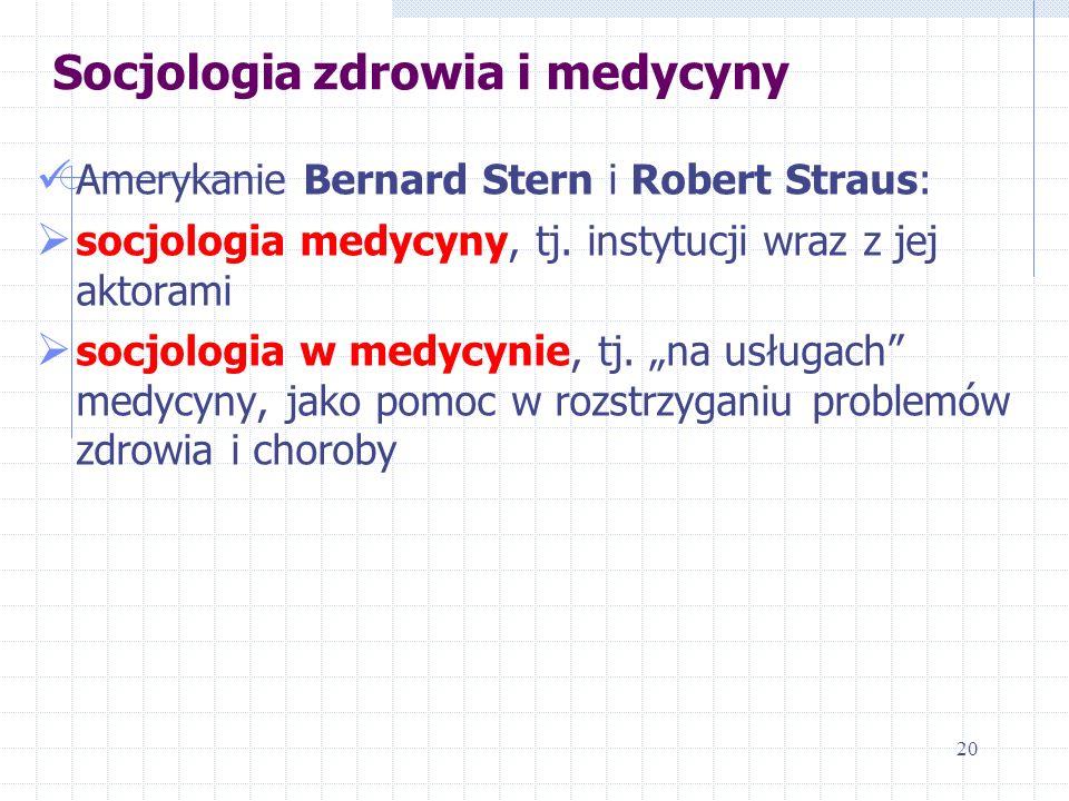 Socjologia zdrowia i medycyny Amerykanie Bernard Stern i Robert Straus: socjologia medycyny, tj. instytucji wraz z jej aktorami socjologia w medycynie