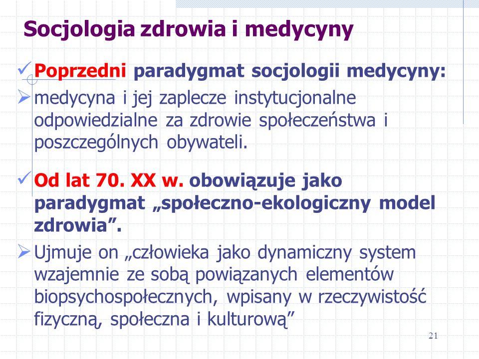 Socjologia zdrowia i medycyny Poprzedni paradygmat socjologii medycyny: medycyna i jej zaplecze instytucjonalne odpowiedzialne za zdrowie społeczeństw