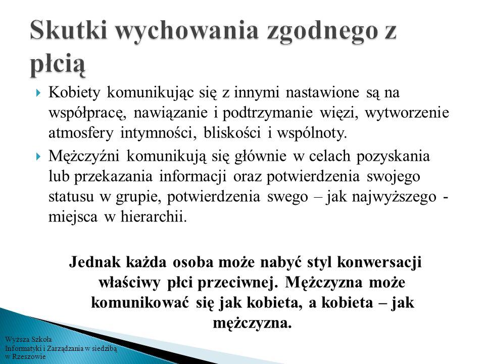 Wyższa Szkoła Informatyki i Zarządzania w siedzibą w Rzeszowie Kobiety komunikując się z innymi nastawione są na współpracę, nawiązanie i podtrzymanie
