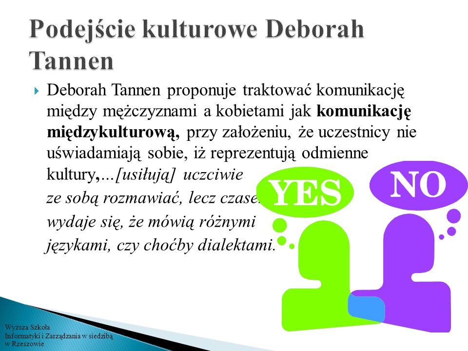 Wyższa Szkoła Informatyki i Zarządzania w siedzibą w Rzeszowie Deborah Tannen proponuje traktować komunikację między mężczyznami a kobietami jak komun