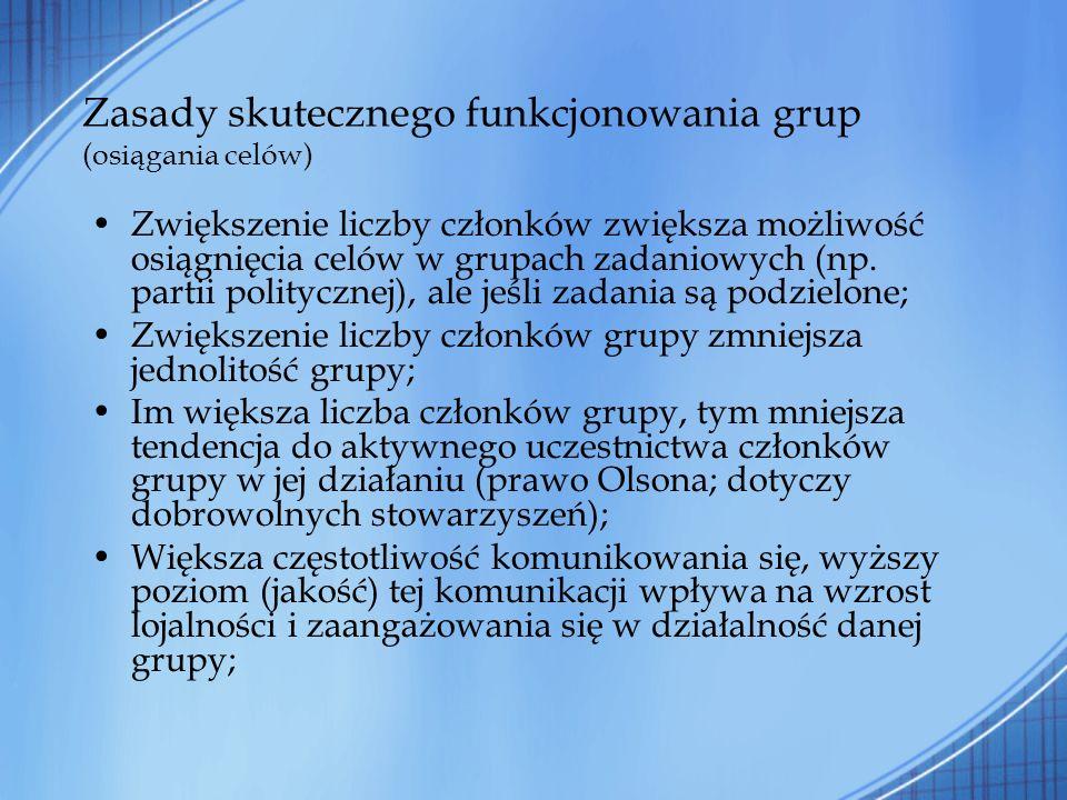 Zasady skutecznego funkcjonowania grup (osiągania celów) Zwiększenie liczby członków zwiększa możliwość osiągnięcia celów w grupach zadaniowych (np. p