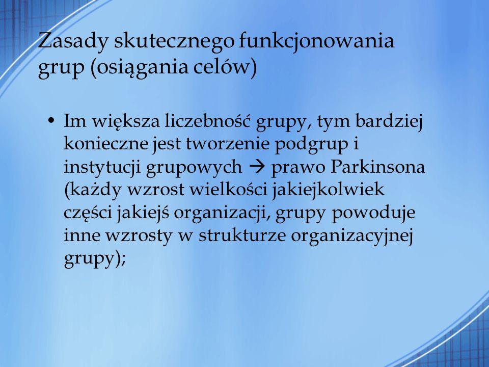 Zasady skutecznego funkcjonowania grup (osiągania celów) Im większa liczebność grupy, tym bardziej konieczne jest tworzenie podgrup i instytucji grupo