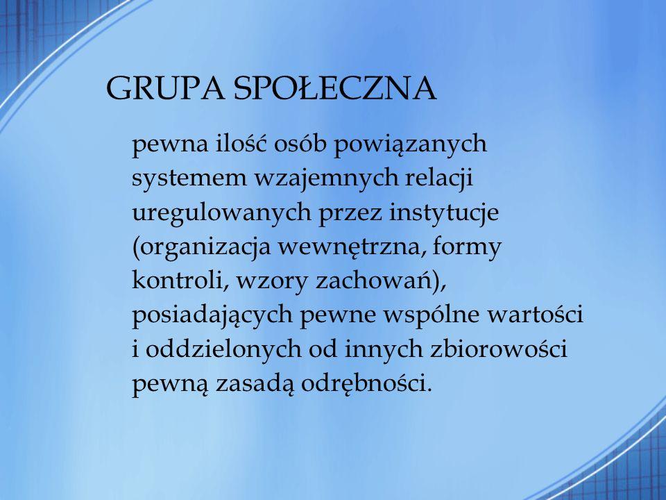 GRUPA SPOŁECZNA pewna ilość osób powiązanych systemem wzajemnych relacji uregulowanych przez instytucje (organizacja wewnętrzna, formy kontroli, wzory