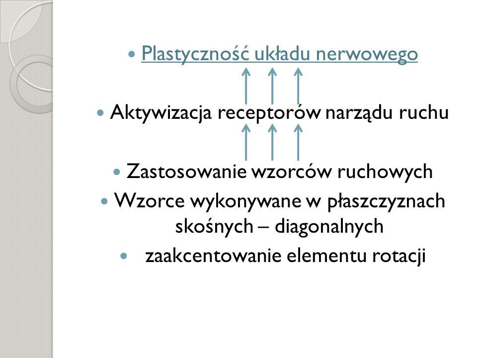 Plastyczność układu nerwowego Aktywizacja receptorów narządu ruchu Zastosowanie wzorców ruchowych Wzorce wykonywane w płaszczyznach skośnych – diagonalnych zaakcentowanie elementu rotacji