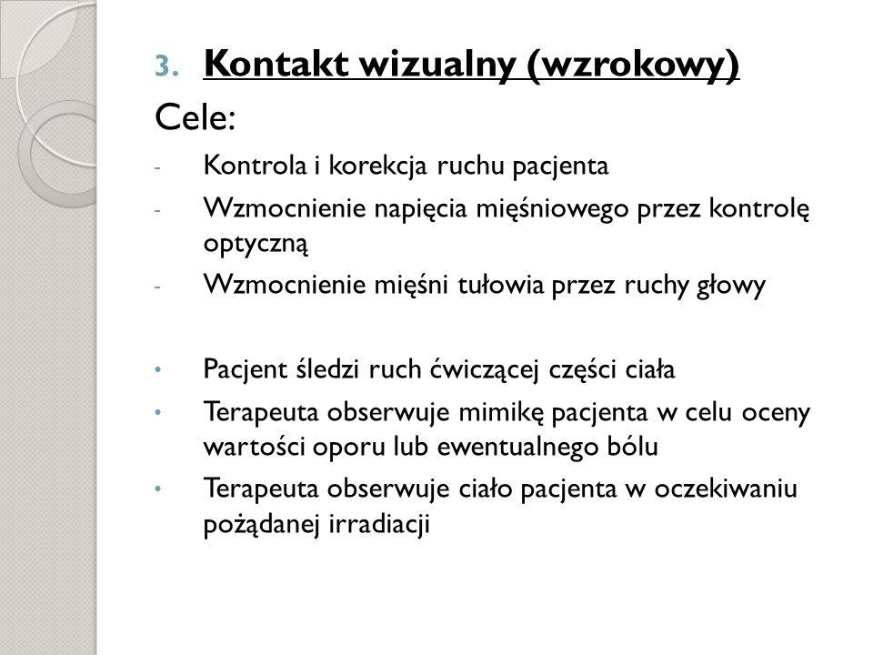 3. Kontakt wizualny (wzrokowy) Cele: - Kontrola i korekcja ruchu pacjenta - Wzmocnienie napięcia mięśniowego przez kontrolę optyczną - Wzmocnienie mię