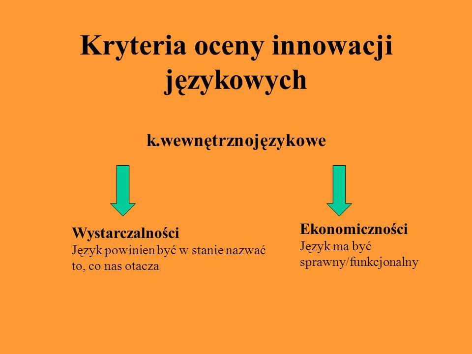 Kryteria oceny innowacji językowych k.wewnętrznojęzykowe Wystarczalności Język powinien być w stanie nazwać to, co nas otacza Ekonomiczności Język ma być sprawny/funkcjonalny