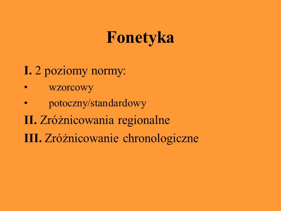 Fonetyka I.2 poziomy normy: wzorcowy potoczny/standardowy II.