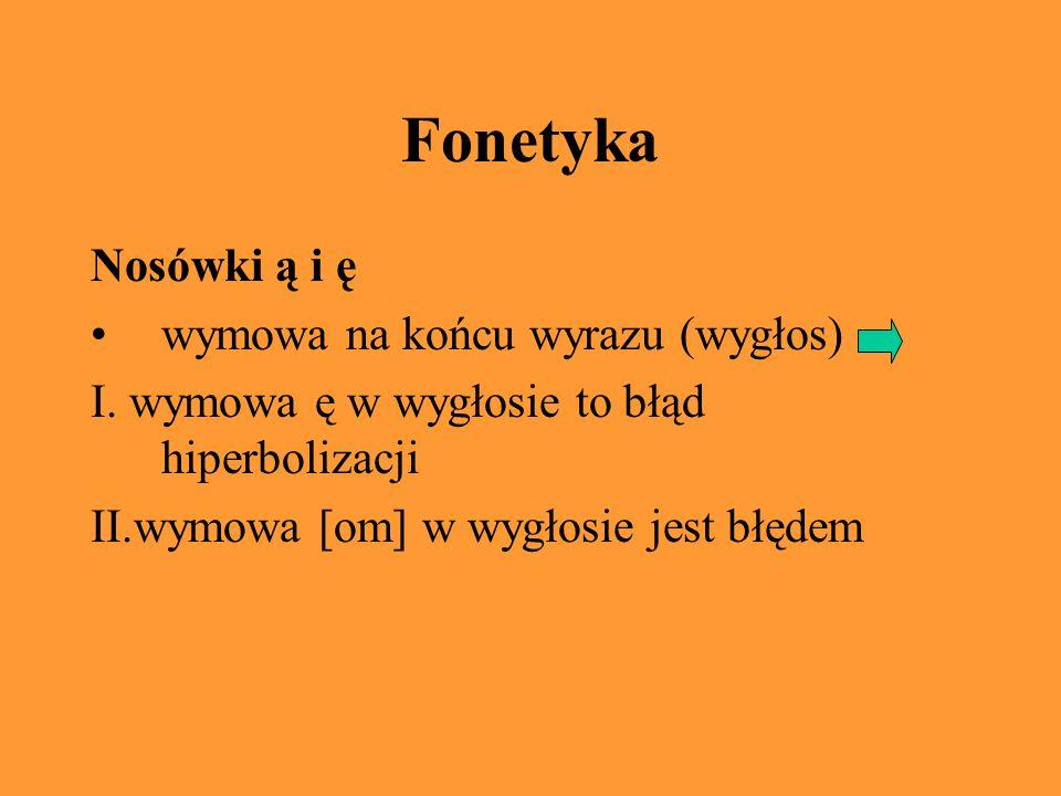 Fonetyka Nosówki ą i ę wymowa na końcu wyrazu (wygłos) I.