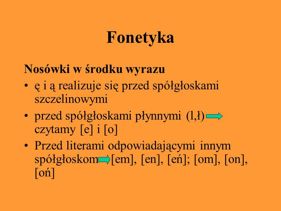 Fonetyka Nosówki w środku wyrazu ę i ą realizuje się przed spółgłoskami szczelinowymi przed spółgłoskami płynnymi (l,ł) czytamy [e] i [o] Przed literami odpowiadającymi innym spółgłoskom [em], [en], [eń]; [om], [on], [oń]