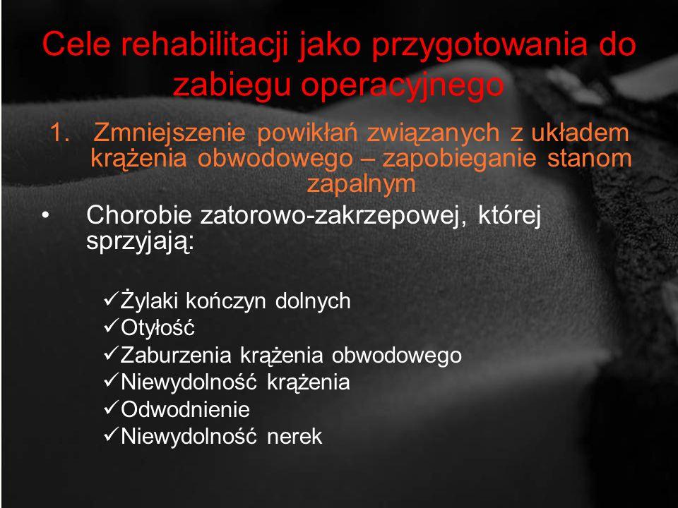 Cele rehabilitacji jako przygotowania do zabiegu operacyjnego 1.Zmniejszenie powikłań związanych z układem krążenia obwodowego – zapobieganie stanom z