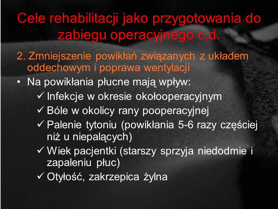 Cele rehabilitacji jako przygotowania do zabiegu operacyjnego c.d. 2. Zmniejszenie powikłań związanych z układem oddechowym i poprawa wentylacji Na po