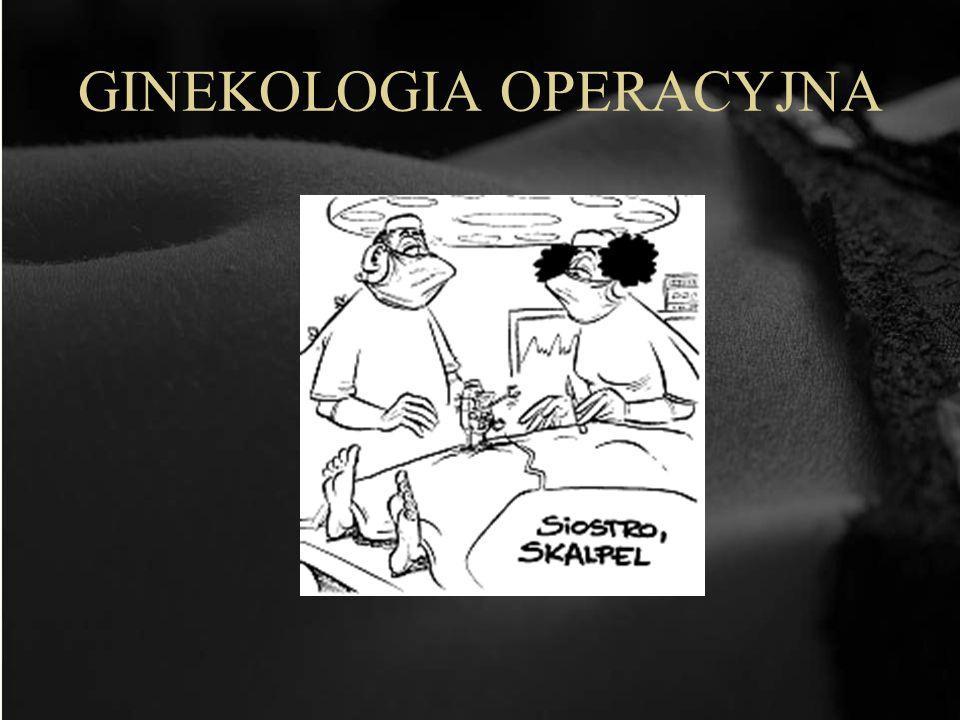 Metody operacji w ginekologii 1.Laparotomia (przez otwarcie jamy brzusznej) Nowotwory złośliwe Guzy Mięśniaki 2.