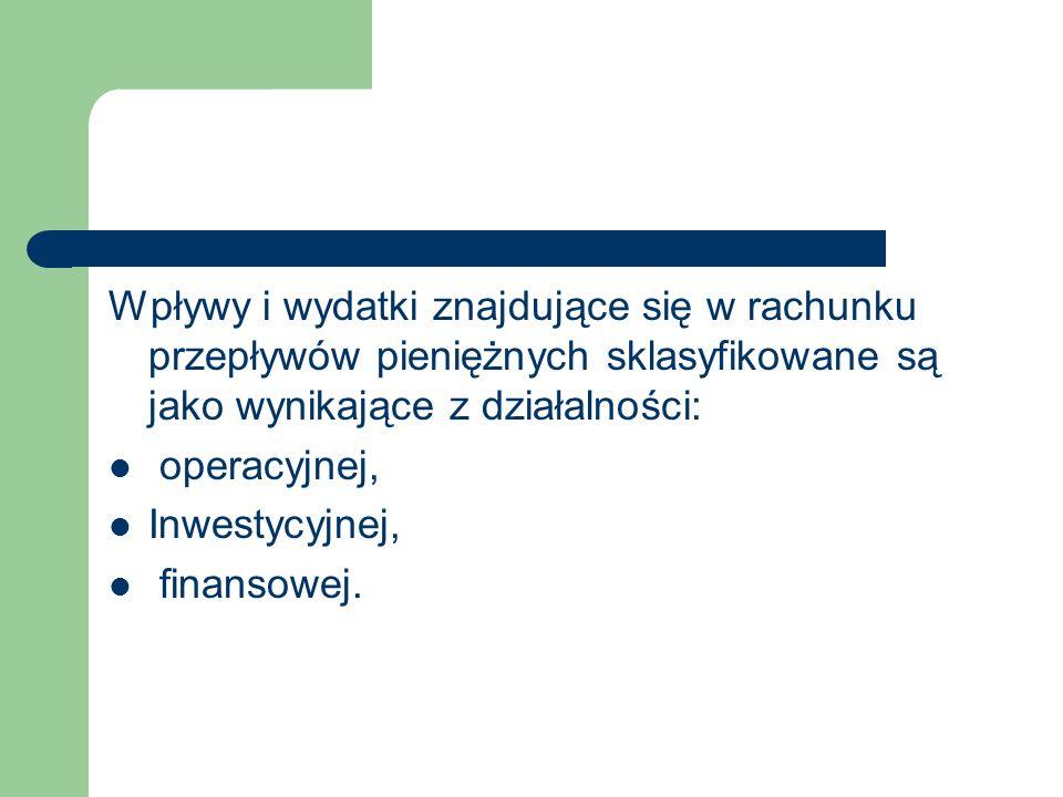 Wpływy i wydatki znajdujące się w rachunku przepływów pieniężnych sklasyfikowane są jako wynikające z działalności: operacyjnej, Inwestycyjnej, finans