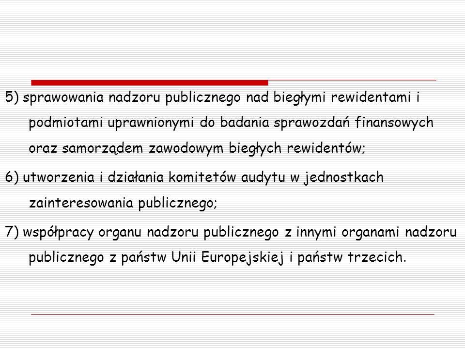 5) sprawowania nadzoru publicznego nad biegłymi rewidentami i podmiotami uprawnionymi do badania sprawozdań finansowych oraz samorządem zawodowym bieg
