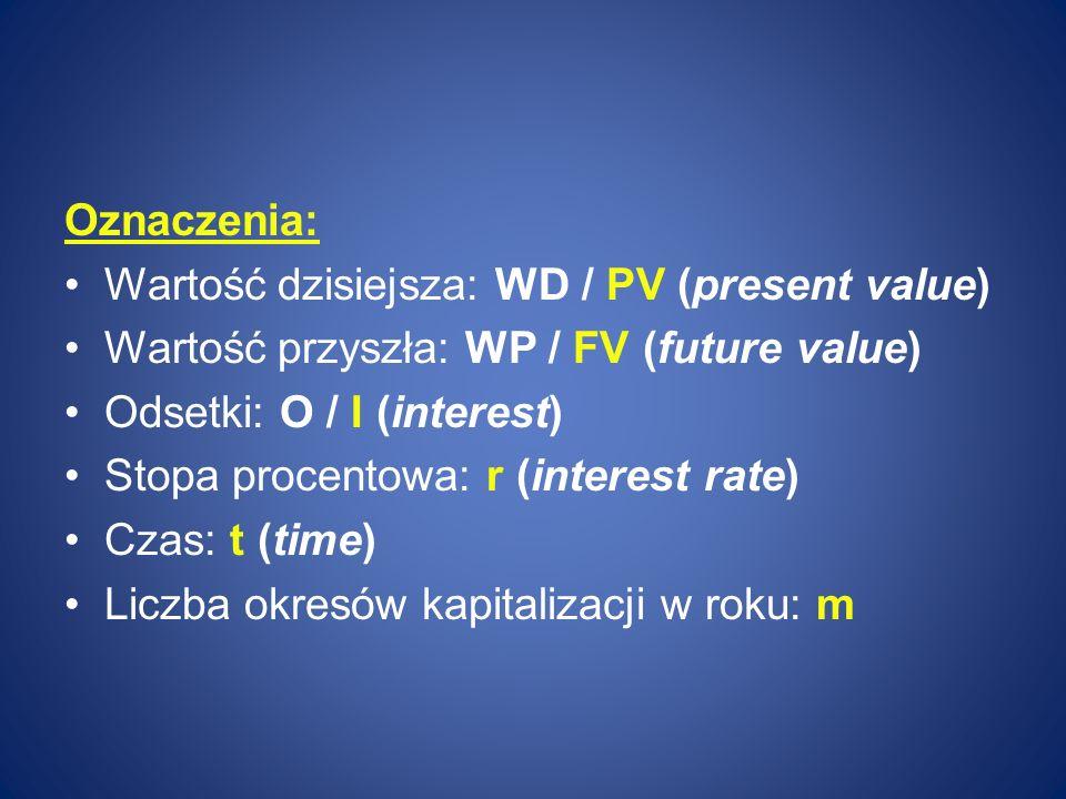 Przykład (szukane: PV) Ile musisz dzisiaj zainwestować na 3 lata przy stopie r = 5% (kapitalizacja miesięczna), aby po tym czasie uzyskać 20 000 zł?