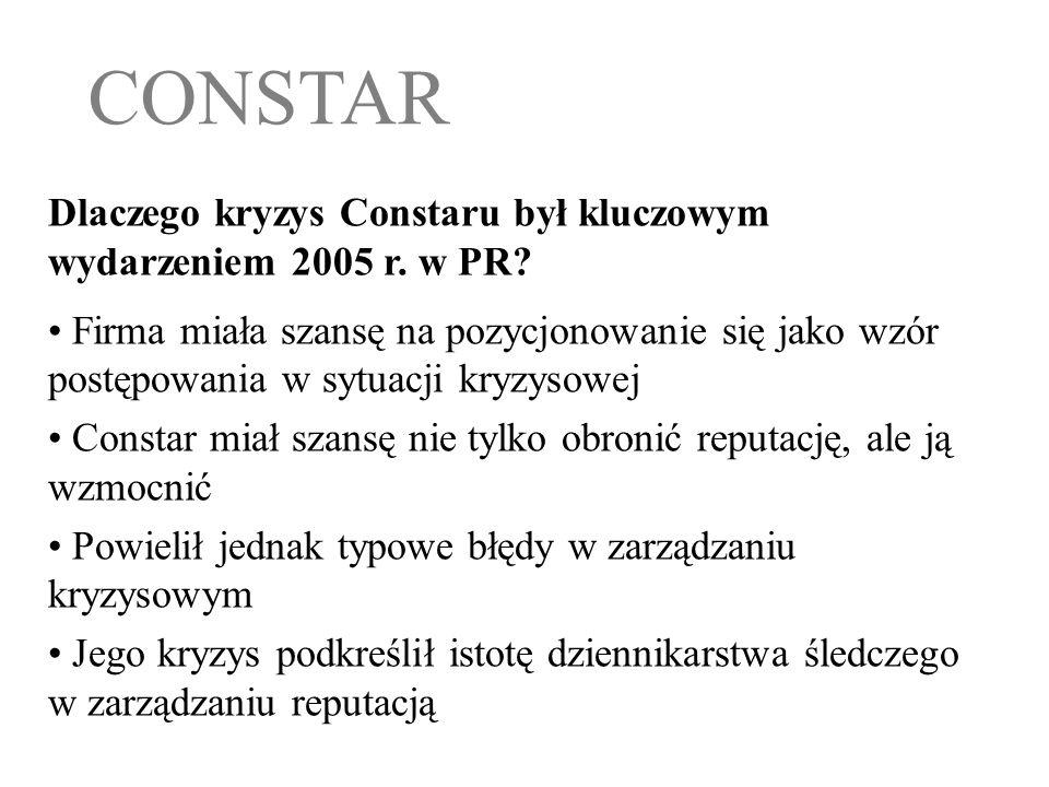 Dlaczego kryzys Constaru był kluczowym wydarzeniem 2005 r. w PR? Firma miała szansę na pozycjonowanie się jako wzór postępowania w sytuacji kryzysowej