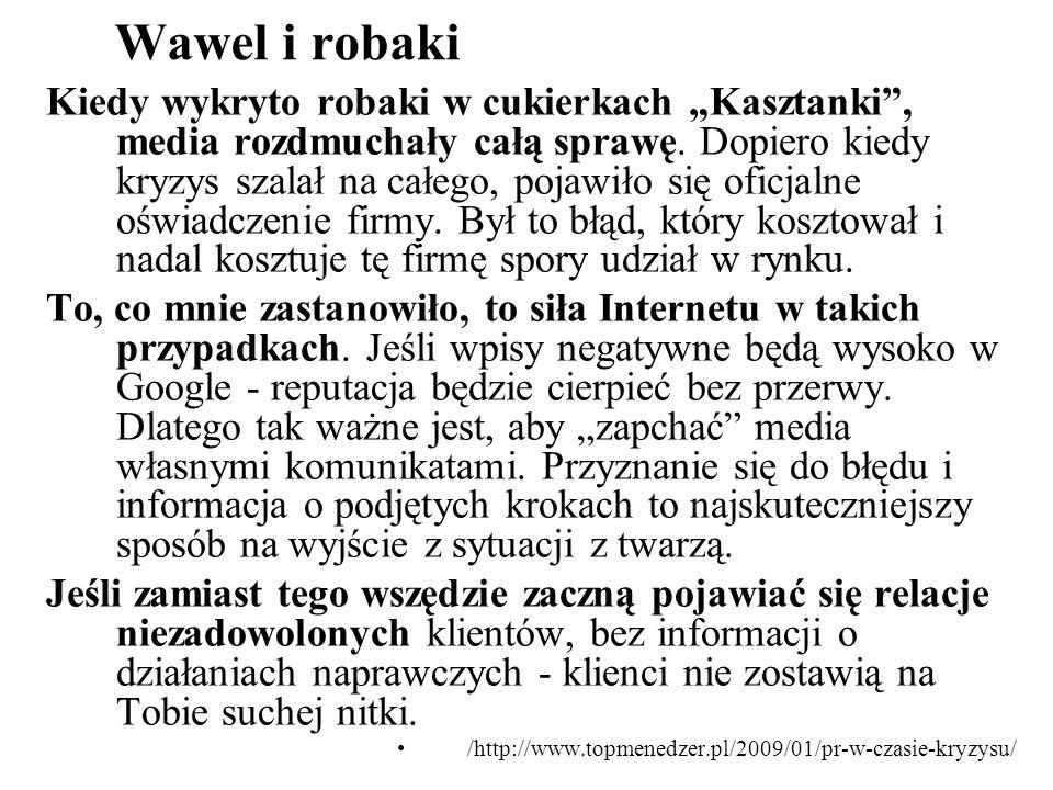 Wawel i robaki Kiedy wykryto robaki w cukierkach Kasztanki, media rozdmuchały całą sprawę. Dopiero kiedy kryzys szalał na całego, pojawiło się oficjal