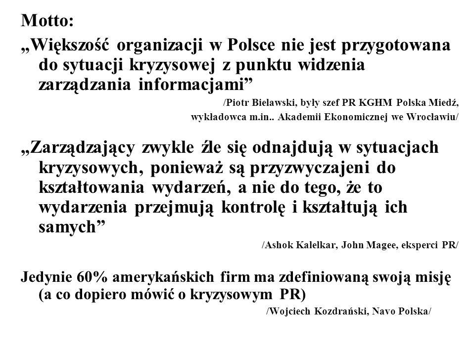 Motto: Większość organizacji w Polsce nie jest przygotowana do sytuacji kryzysowej z punktu widzenia zarządzania informacjami /Piotr Bielawski, były s