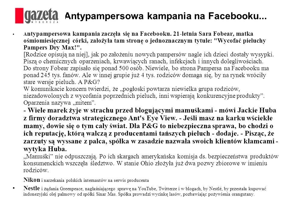 Antypampersowa kampania na Facebooku... A ntypampersowa kampania zaczęła się na Facebooku. 21-letnia Sara Fobear, matka ośmiomiesięcznej córki, założy