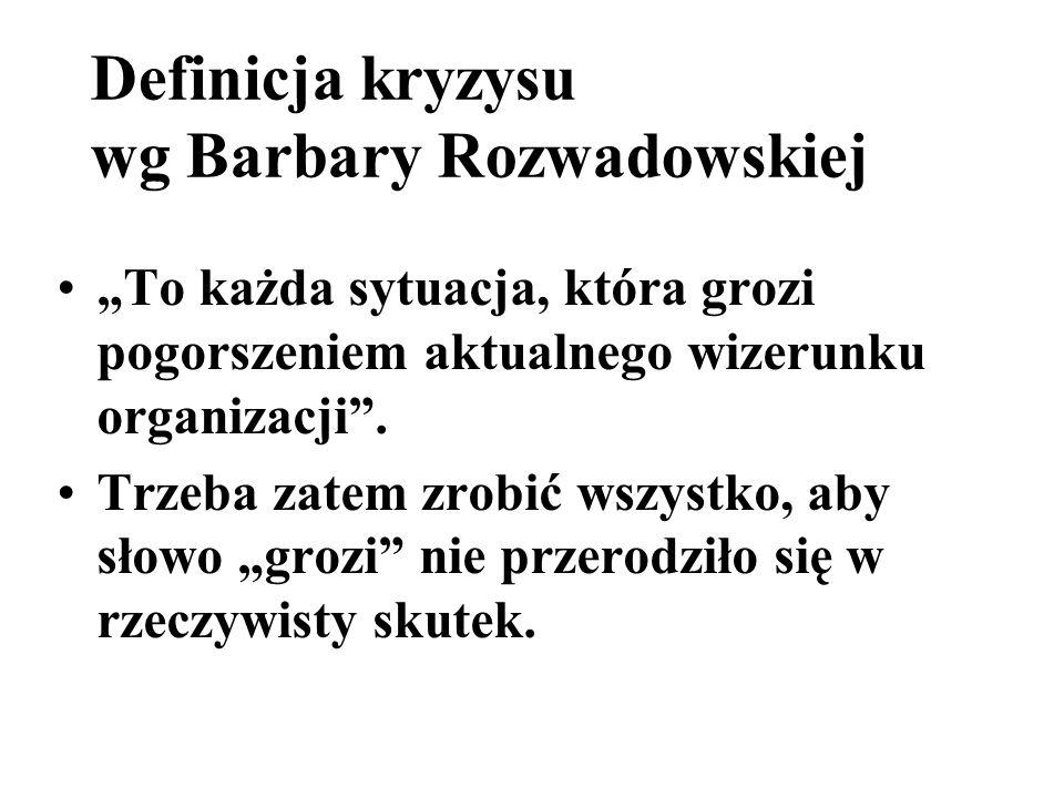 Definicja kryzysu wg Barbary Rozwadowskiej To każda sytuacja, która grozi pogorszeniem aktualnego wizerunku organizacji. Trzeba zatem zrobić wszystko,
