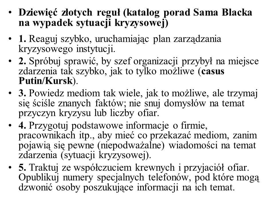 Dziewięć złotych reguł (katalog porad Sama Blacka na wypadek sytuacji kryzysowej) 1. Reaguj szybko, uruchamiając plan zarządzania kryzysowego instytuc