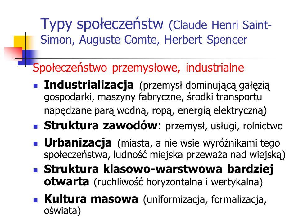 Typy społeczeństw (Claude Henri Saint- Simon, Auguste Comte, Herbert Spencer Społeczeństwo przemysłowe, industrialne Industrializacja (przemysł dominu