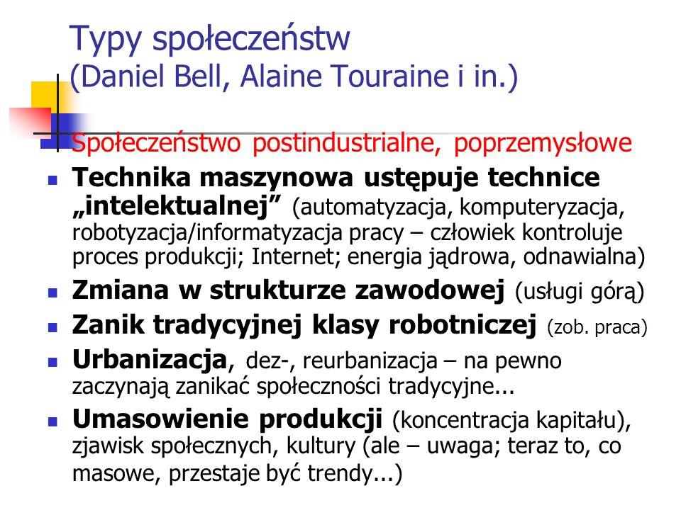 Typy społeczeństw (Daniel Bell, Alaine Touraine i in.) Społeczeństwo postindustrialne, poprzemysłowe Technika maszynowa ustępuje technice intelektualn
