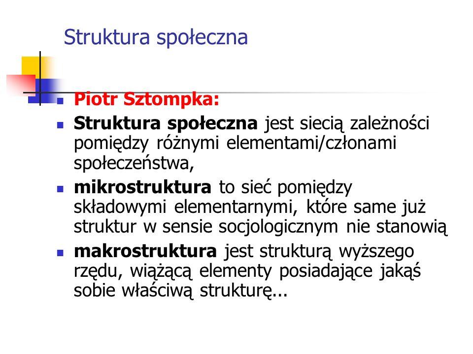 Piotr Sztompka: Struktura społeczna jest siecią zależności pomiędzy różnymi elementami/członami społeczeństwa, mikrostruktura to sieć pomiędzy składow