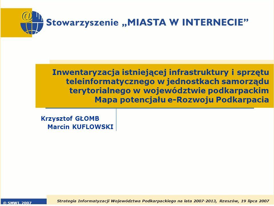 Strategia Informatyzacji Województwa Podkarpackiego na lata 2007-2013, Rzeszów, 19 lipca 2007 22 Wskaźnik potencjału innowacyjnego Powiaty o najniższym wskaźniku innowacyjnym Powiaty o najwyższym wskaźniku innowacyjnym lubaczowskiLeski, leżajski krośnieńskiTarnobrzeg rzeszowskiRzeszów jarosławskiKrosno kolbuszowskiPrzemyśl Wi=0,3*i 1 +0,2*i 2 +0,5*i 3 (i 1 )– ilość bankomatów na 10 000 mieszkańców (i 2 )– odsetek jednostek samorządu terytorialnego posiadających stronę www (i 3 )– ilość firm sektora ICT na 10 000 mieszkańców