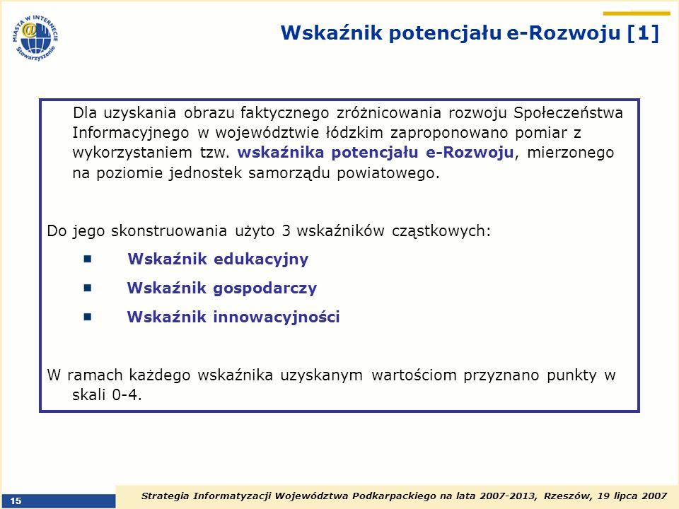 Strategia Informatyzacji Województwa Podkarpackiego na lata 2007-2013, Rzeszów, 19 lipca 2007 15 Wskaźnik potencjału e-Rozwoju [1] Dla uzyskania obraz