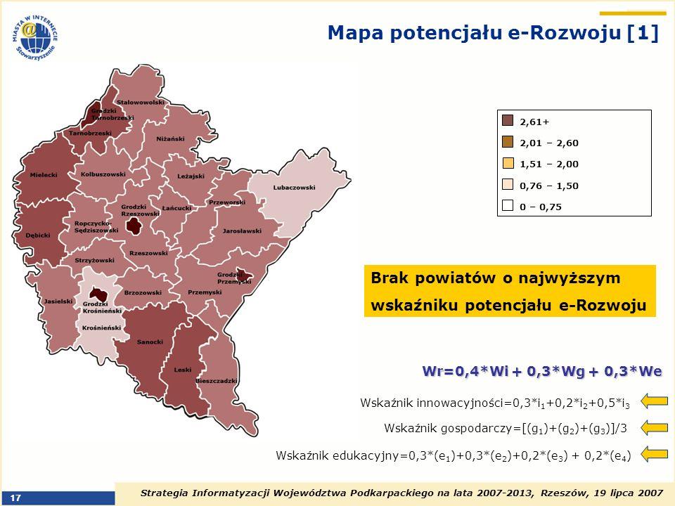 Strategia Informatyzacji Województwa Podkarpackiego na lata 2007-2013, Rzeszów, 19 lipca 2007 17 Mapa potencjału e-Rozwoju [1] Brak powiatów o najwyżs