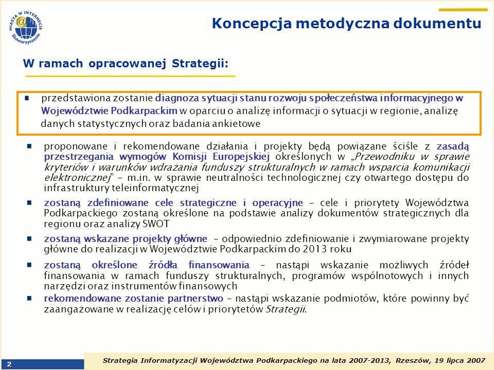 Strategia Informatyzacji Województwa Podkarpackiego na lata 2007-2013, Rzeszów, 19 lipca 2007 2 Koncepcja metodyczna dokumentu proponowane i rekomendo