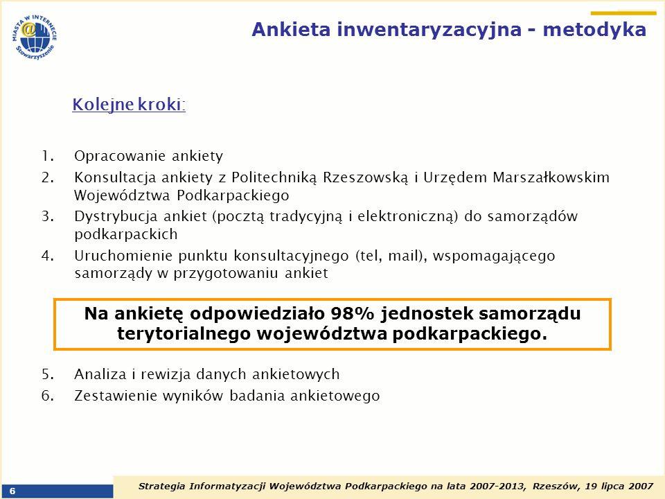 Strategia Informatyzacji Województwa Podkarpackiego na lata 2007-2013, Rzeszów, 19 lipca 2007 7 Obszary badań inwentaryzacyjnych podstawowe wskaźniki rozwoju społeczeństwa informacyjnego sprzęt i infrastruktura teleinformatyczna w urzędach kompetencje pracowników typy projektów z zakresu społeczeństwa informacyjnego realizowanych przez samorządy podkarpackie już zrealizowanych będących w trakcie realizacji planowanych do realizacji inwestycje w działania z zakresu społeczeństwa informacyjnego zakup oprogramowania, aplikacji, systemów teleinformatycznych, zakup sprzętu informatycznego koszty podłączenia i utrzymania sieci Internet działanie sieci lokalnych źródła finansowania