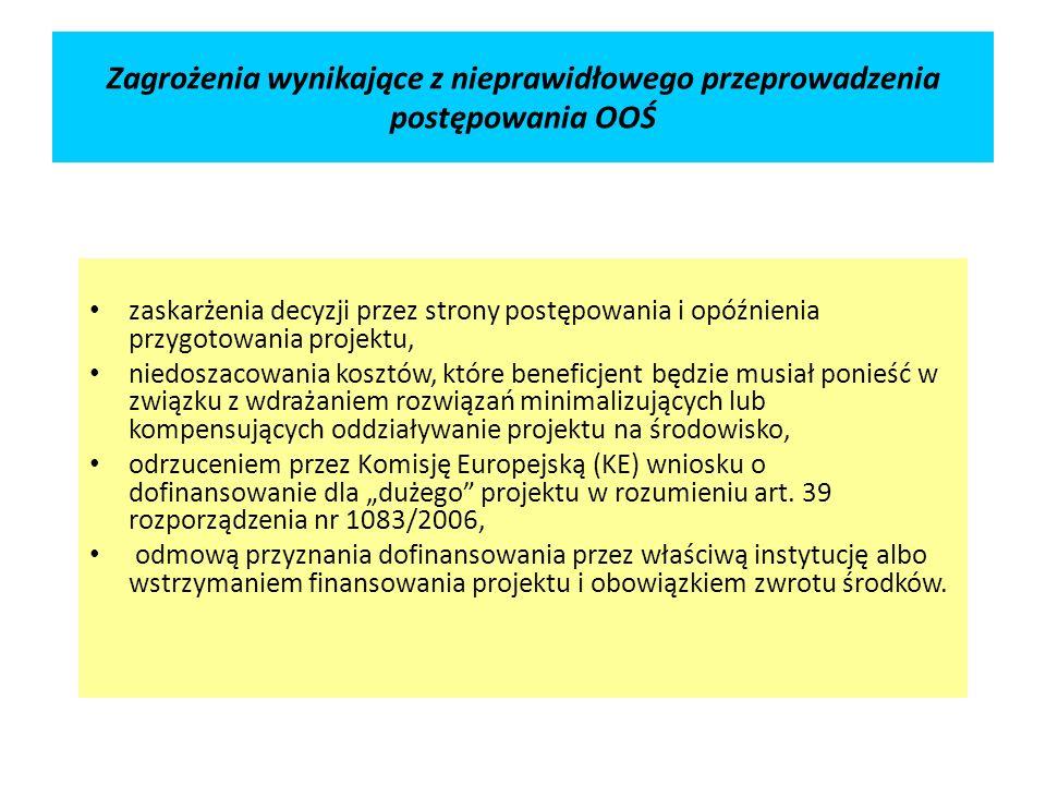 Zagrożenia wynikające z nieprawidłowego przeprowadzenia postępowania OOŚ zaskarżenia decyzji przez strony postępowania i opóźnienia przygotowania projektu, niedoszacowania kosztów, które beneficjent będzie musiał ponieść w związku z wdrażaniem rozwiązań minimalizujących lub kompensujących oddziaływanie projektu na środowisko, odrzuceniem przez Komisję Europejską (KE) wniosku o dofinansowanie dla dużego projektu w rozumieniu art.