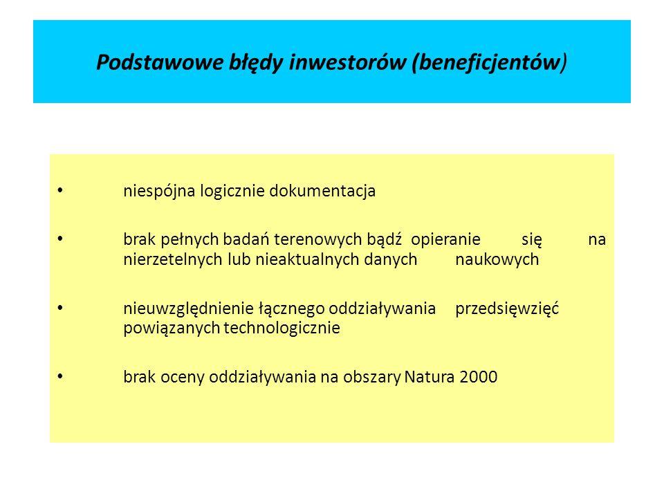 Podstawowe błędy inwestorów (beneficjentów) niespójna logicznie dokumentacja brak pełnych badań terenowych bądź opieranie się na nierzetelnych lub nie