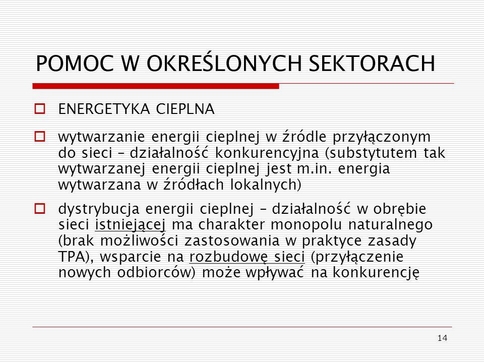 14 POMOC W OKREŚLONYCH SEKTORACH ENERGETYKA CIEPLNA wytwarzanie energii cieplnej w źródle przyłączonym do sieci – działalność konkurencyjna (substytut