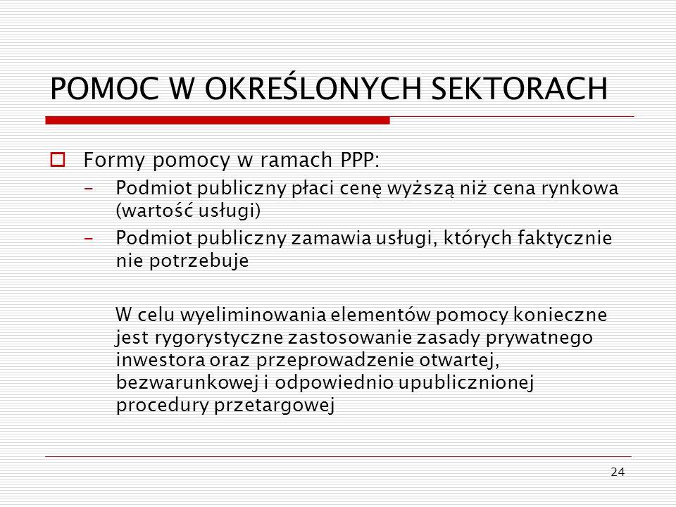 24 POMOC W OKREŚLONYCH SEKTORACH Formy pomocy w ramach PPP: -Podmiot publiczny płaci cenę wyższą niż cena rynkowa (wartość usługi) -Podmiot publiczny