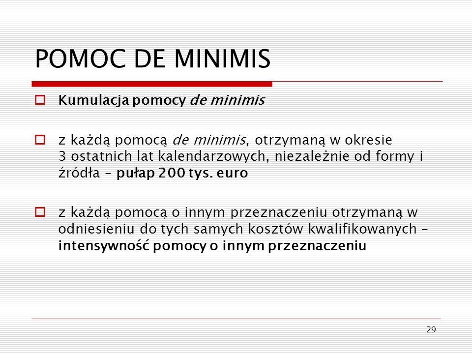 29 POMOC DE MINIMIS Kumulacja pomocy de minimis z każdą pomocą de minimis, otrzymaną w okresie 3 ostatnich lat kalendarzowych, niezależnie od formy i
