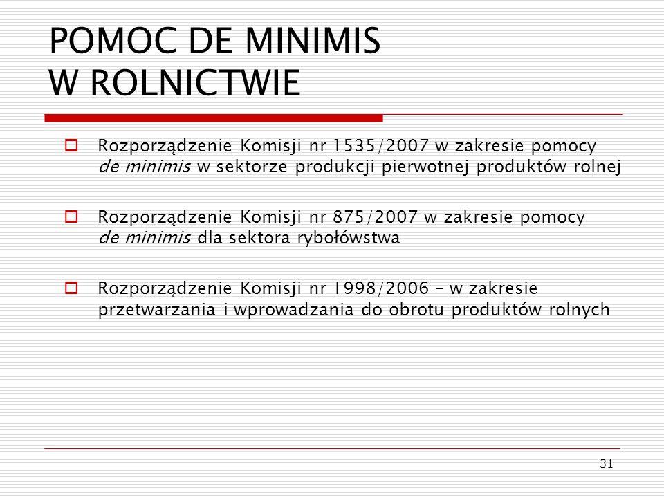31 POMOC DE MINIMIS W ROLNICTWIE Rozporządzenie Komisji nr 1535/2007 w zakresie pomocy de minimis w sektorze produkcji pierwotnej produktów rolnej Roz