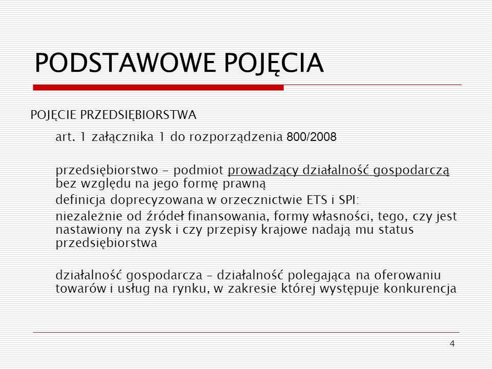 4 PODSTAWOWE POJĘCIA POJĘCIE PRZEDSIĘBIORSTWA art. 1 załącznika 1 do rozporządzenia 800/2008 przedsiębiorstwo - podmiot prowadzący działalność gospoda