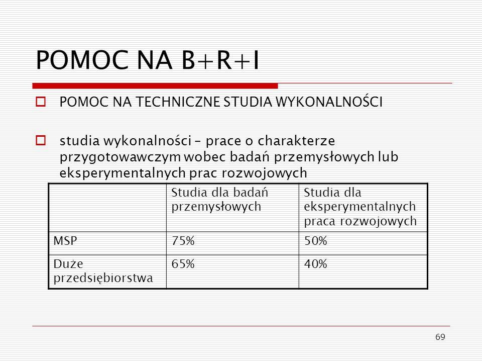 69 POMOC NA B+R+I POMOC NA TECHNICZNE STUDIA WYKONALNOŚCI studia wykonalności – prace o charakterze przygotowawczym wobec badań przemysłowych lub eksp