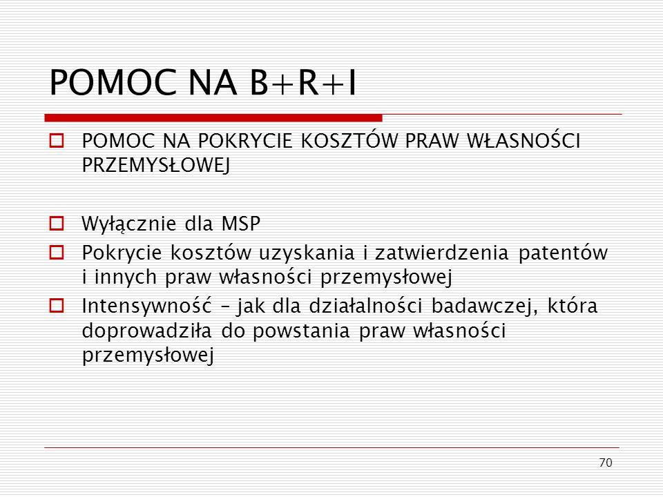 70 POMOC NA B+R+I POMOC NA POKRYCIE KOSZTÓW PRAW WŁASNOŚCI PRZEMYSŁOWEJ Wyłącznie dla MSP Pokrycie kosztów uzyskania i zatwierdzenia patentów i innych